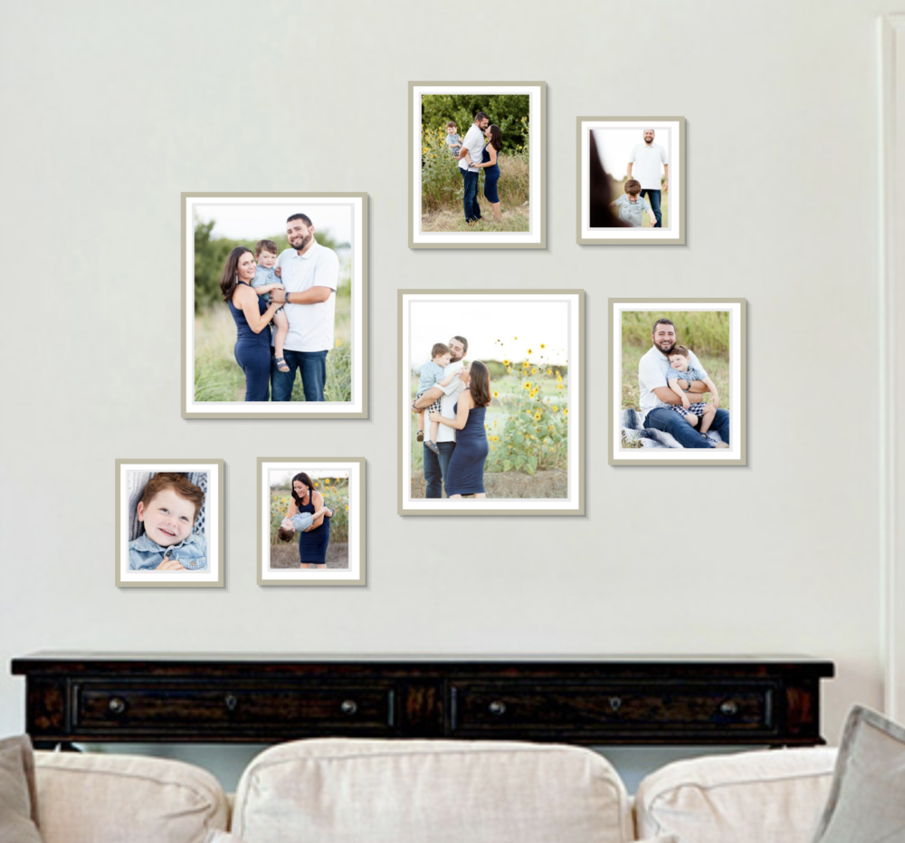 Designing custom wall galleries across North Dallas.   Do you want to have a photo legacy on the wall in your home? If you want to incorporate the photos that I took of your child on your wall but want family photos, sign up for a fall family session. Click this photo to sign up now!