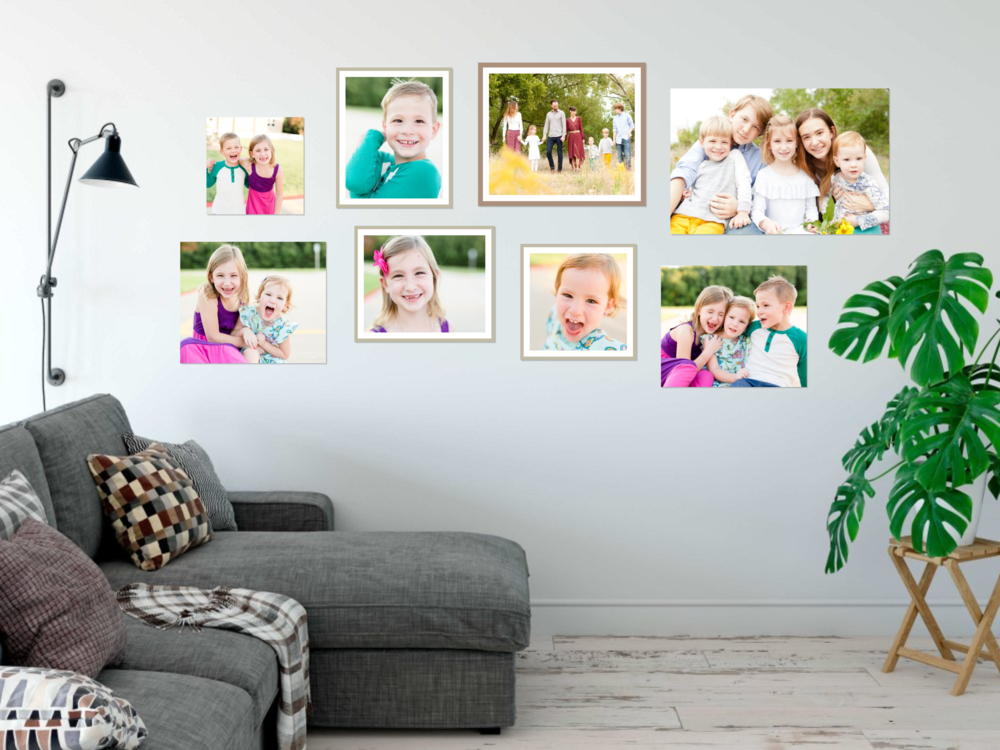 gallery wall with kids photos