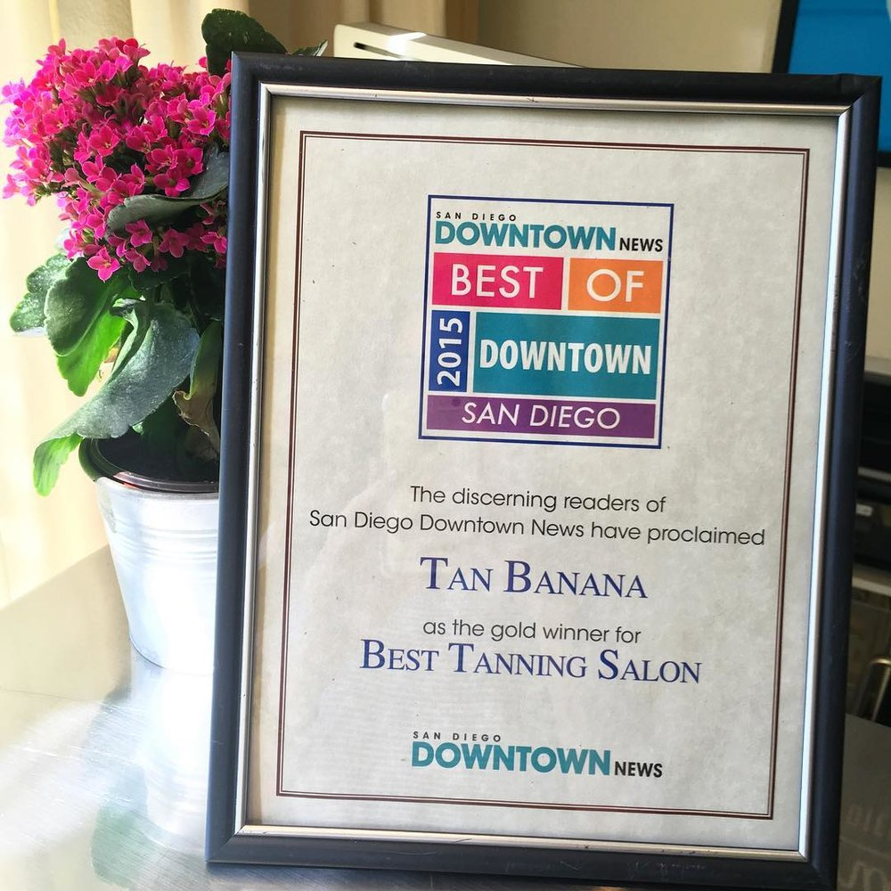 OMG you guys!! It's official, we are The Best Tanning Salon in Downtown San Diego! I am beyond excited and grateful for all of your love and support! 💛🍌☀️