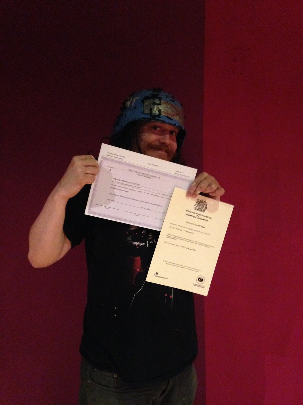 Tommy with our new certificates