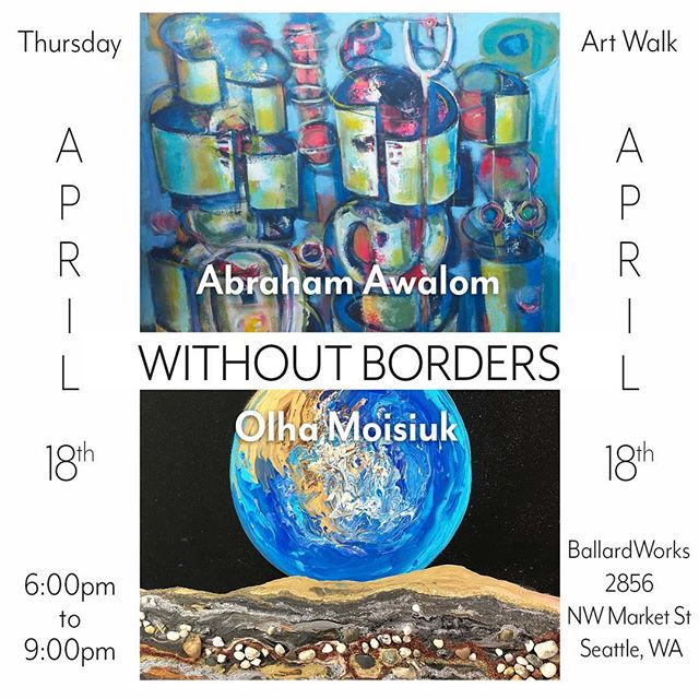 We are excited to feature the works of talented fine art painters Abraham Awalom and Olha Moisiuk at BallardWorks Art Walk, Thursday, April 18th from 6-9pm (2856 NW Market St, Seattle, WA). Come join us for an inspiring evening of worldly perspectives and learn about The Art of Saving Humanity program to help artists from around the globe integrate into our community. Original works and various prints will be available for purchase. 100% of the proceeds of any sales will go to the respective artist. *Many thanks to BallardWorks for hosting this event! And thank you as always to @kc4Culture for funding that has helped us keep this program up and running! * #supportart #supportartists #refugeeswelcome #refugees #artmatters #artevent #seattle #seattleartist #seattleart #immigrantsmakeamericagreat #ballard #artwalk #artshow @olhamoisiukstudio @kc4culture