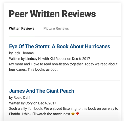 Written & Picture Reviews - Readers within your library, school, or organization can post and like written reviews along with photos or videos, called