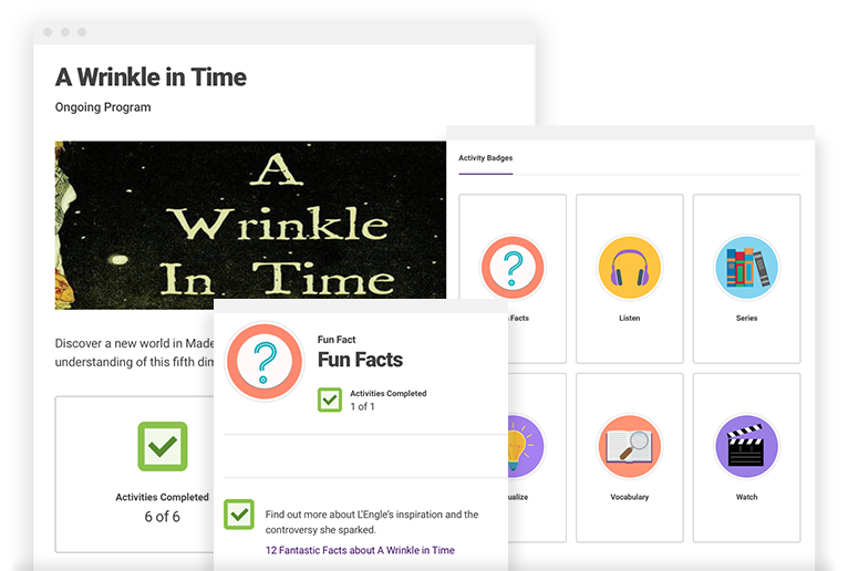 "A Wrinkle In Time - Discover a new world in Madeline L'Engle's famous book and explore space & time with our activity-based program template! Activities such as ""Check out the perspective projection of a tesseract"