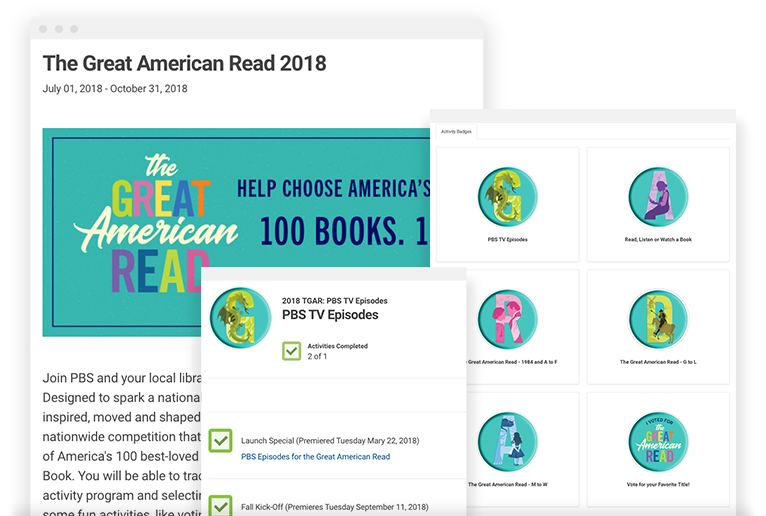 The Great American Read 2018 - Participate in The Great American Read, an 8 part series created by PBS. This challenge was created to recognize and cherish the literature that has impacted us and continues to inspire new generations of readers. You can track your reading, complete activities, and help vote for America's Favorite Book!
