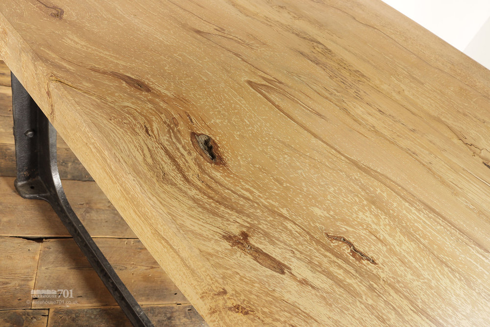 Spalted beech industrial look dining table , hand-made from reclaimed materials at Warehouse 701