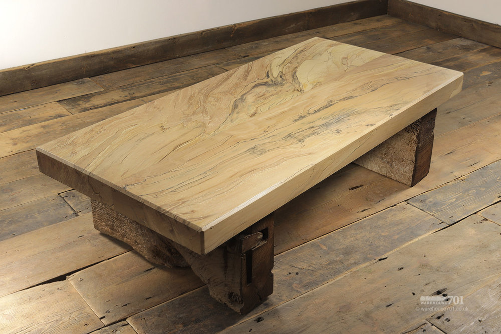 Spalted beech coffee table , hand-made from reclaimed materials at Warehouse 701.