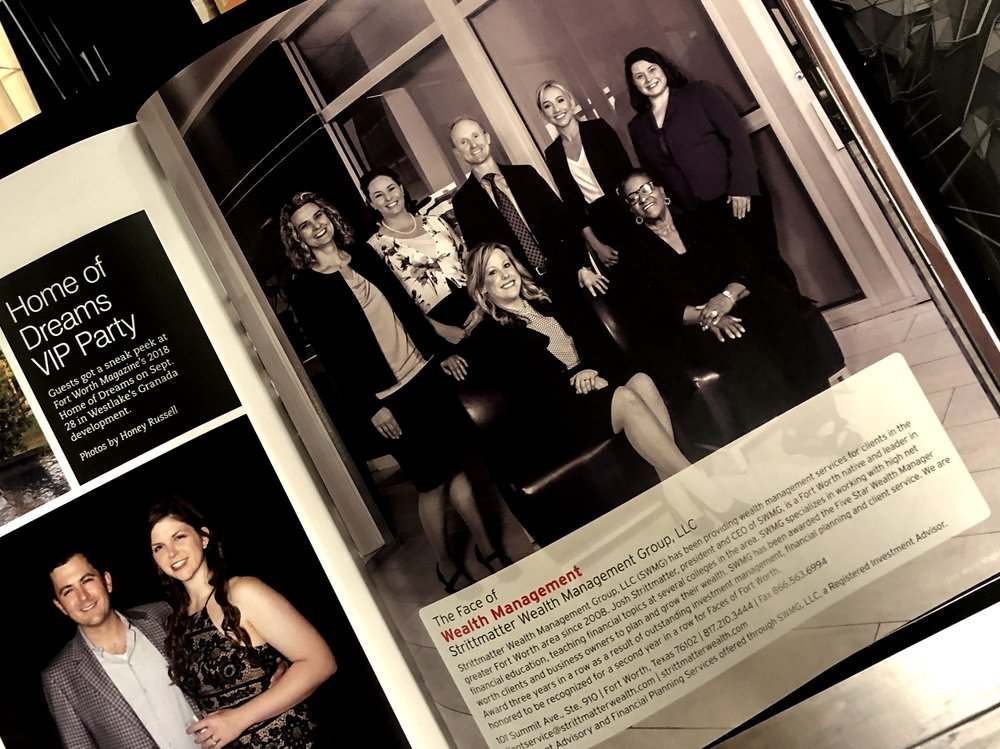 Strittmatter Wealth Fort Worth Magazine 2019 Faces of Fort Worth Face of Wealth Management Wealth Management Firm Investment