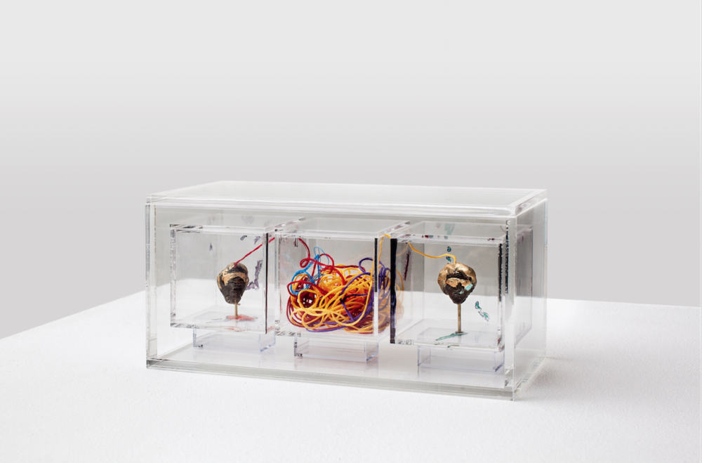 "Lynn Hershman Leeson,  Conversation , 1966-2014, Wax, nails, string, plexiglass, heads approximately 2"" x 1"" Plexiglas boxes"