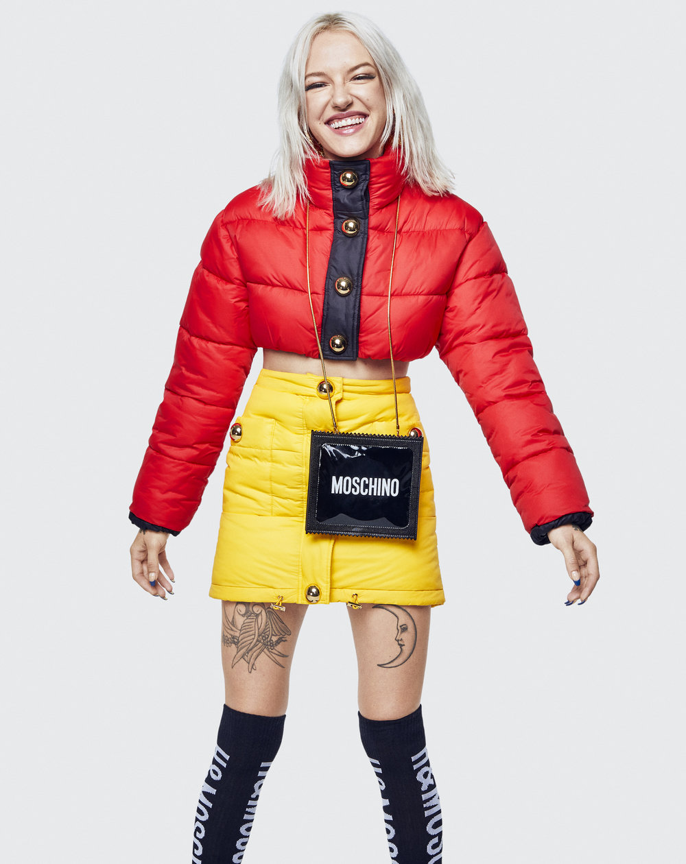 CROPPED PUFFER - Red jacket with gold buttons