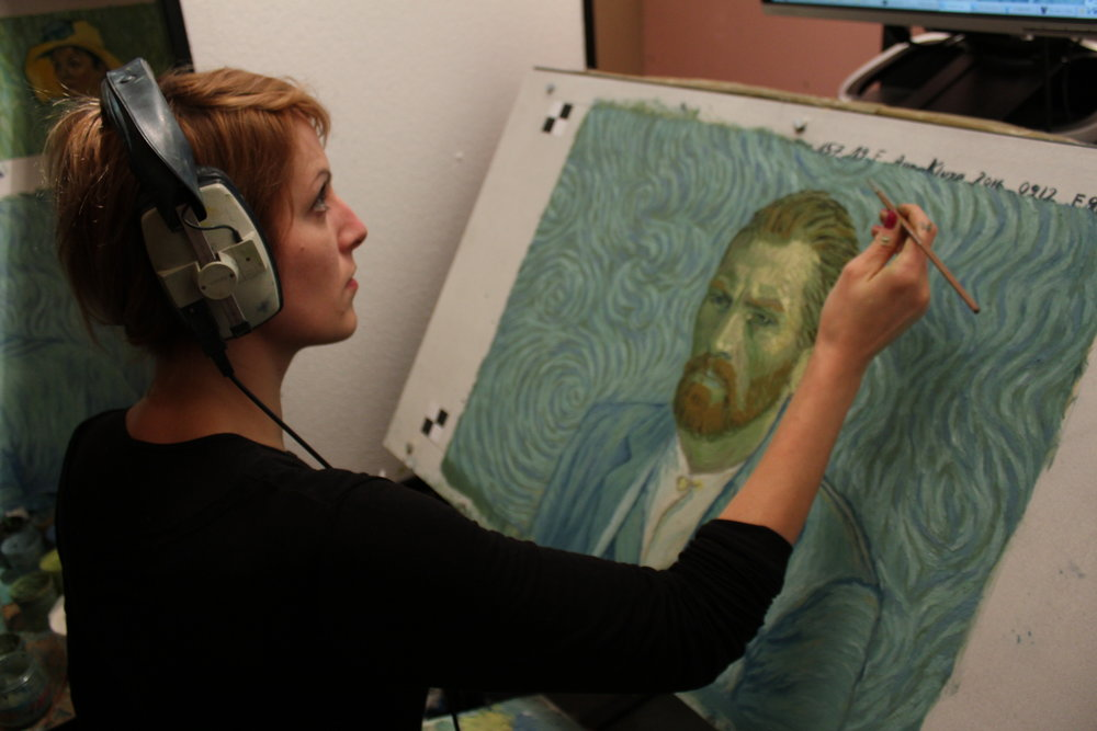 "Behind the scenes images of the painting animators behind the award-winning film, "" Loving Vincent "" - courtesy of BreakThru Films"