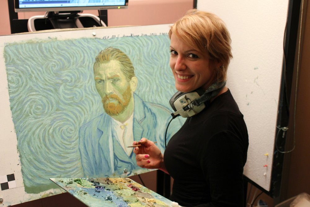 """Behind the scenes images of the painting animators behind the award-winning film, """" Loving Vincent """" - courtesy of BreakThru Films"""