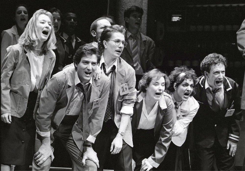 From left to right: Lesley Manville, Julian Wadlam, Gary Oldman, Linda Bassett, Meera Syal, Allan Corduner in Caryl Churchill's  Serious Money . Royal Court (1987)