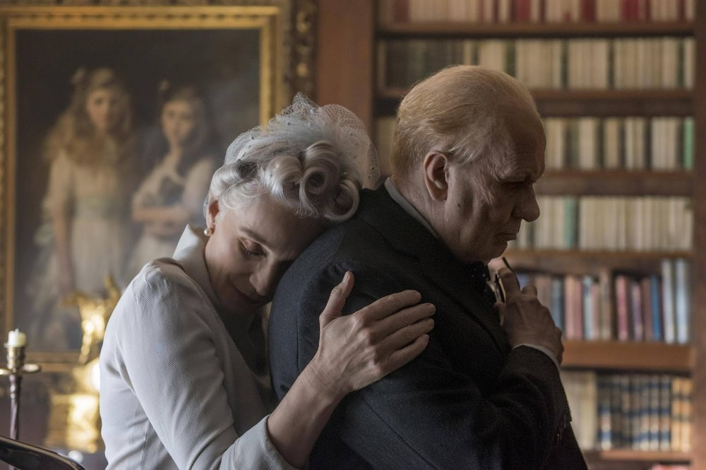 Kristen Scott Thomas as Clemmie and Gary Oldman as Winston Churchill in  Darkest Hour  (2017) - courtesy of Focus Features
