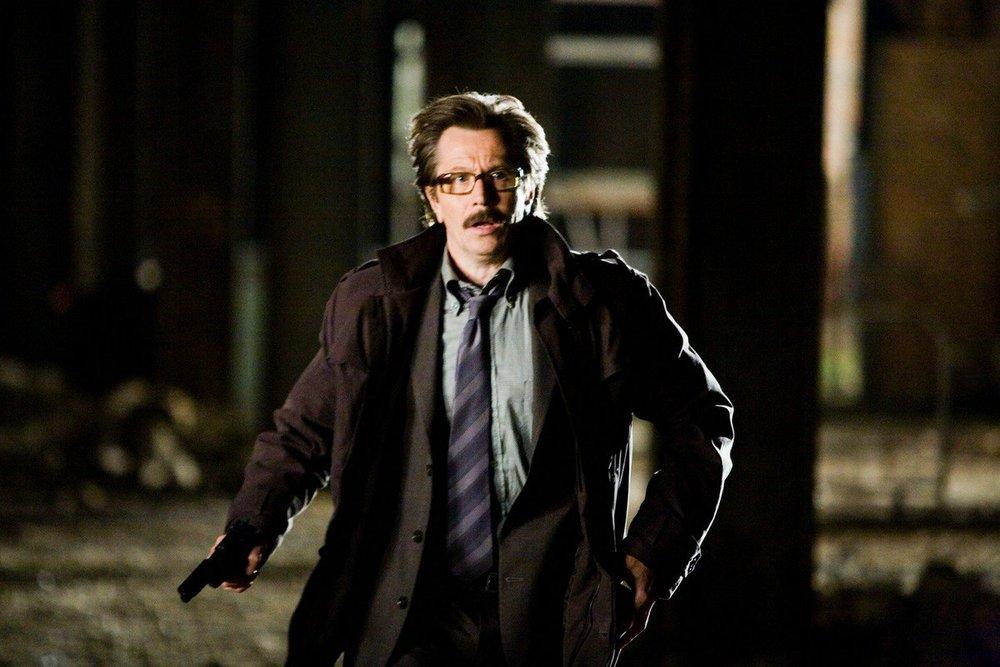 Gary Oldman as Jim Gordon and Christian Bale as Batman in  Batman: The Dark Knight  (2008) - courtesy of Warner Bros.