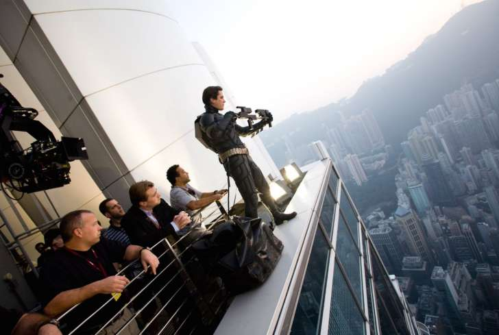 Behind the Scenes filming  The Dark Knight  feat. Christian Bale as Batman in Hong Kong (top of the IFC 1 Building) (2008) - courtesy of Warner Bros.