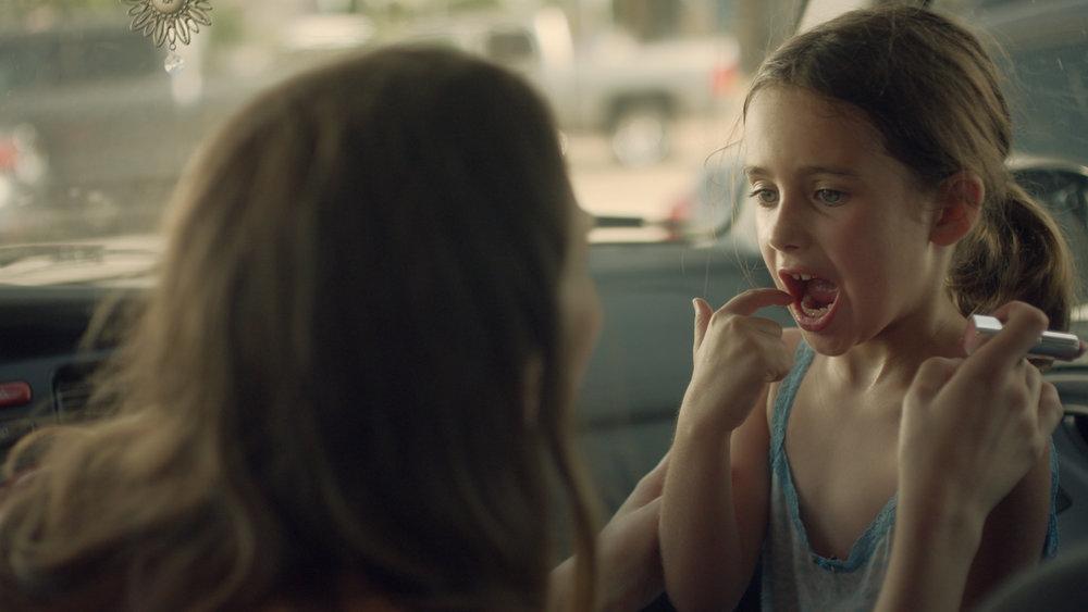 L-R Celine Held as the Mother acting alongside Caroline Falk as Caroline in  Caroline  (2018) - courtesy of ELO films