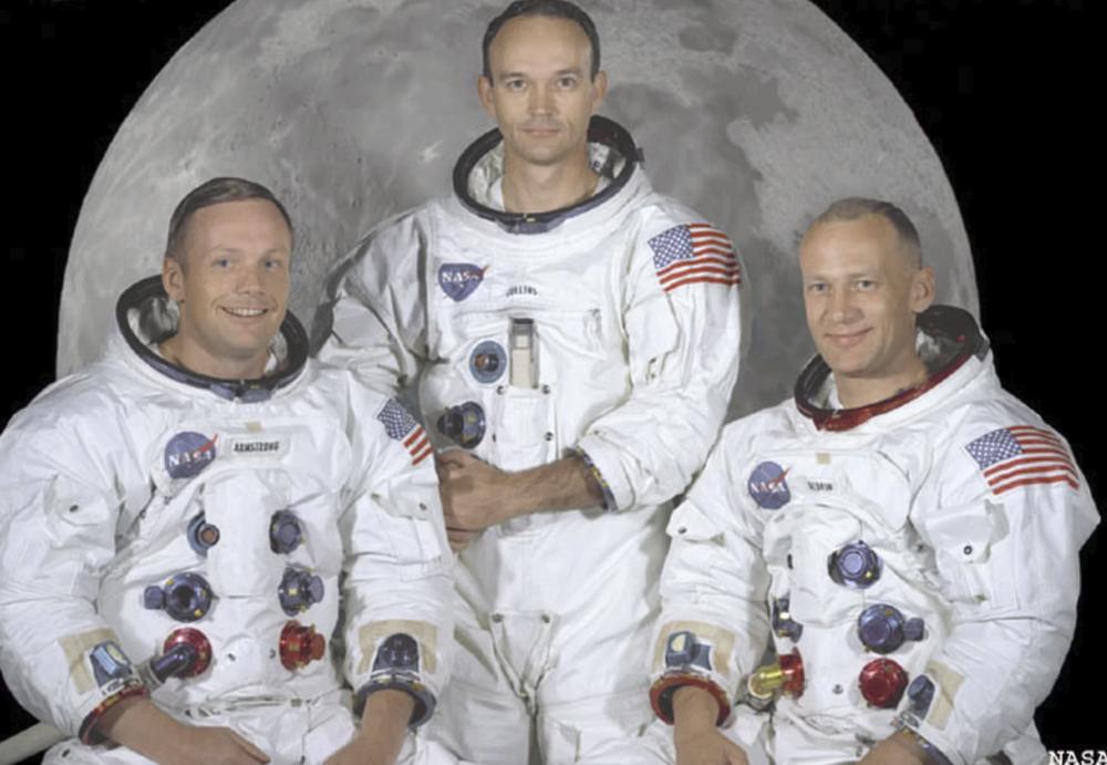 "Neil A. Armstrong, Commander; Michael Collins, Module Pilot; Edwin E. ""Buzz"" Aldrin, Lunar Module Pilot Credit: NASA"