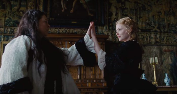 The Favourite  (2018) feat. Emma Stone as Abigail and Olivia Coleman as Queen Ann - courtesy of Fox Searchlight Pictures