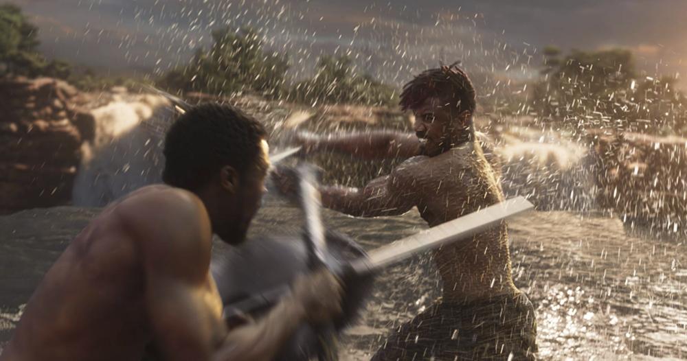 Michael B. Jordan  and  Chadwick Boseman  in   Black Panther   (2018) - courtesy of Marvel/Disney