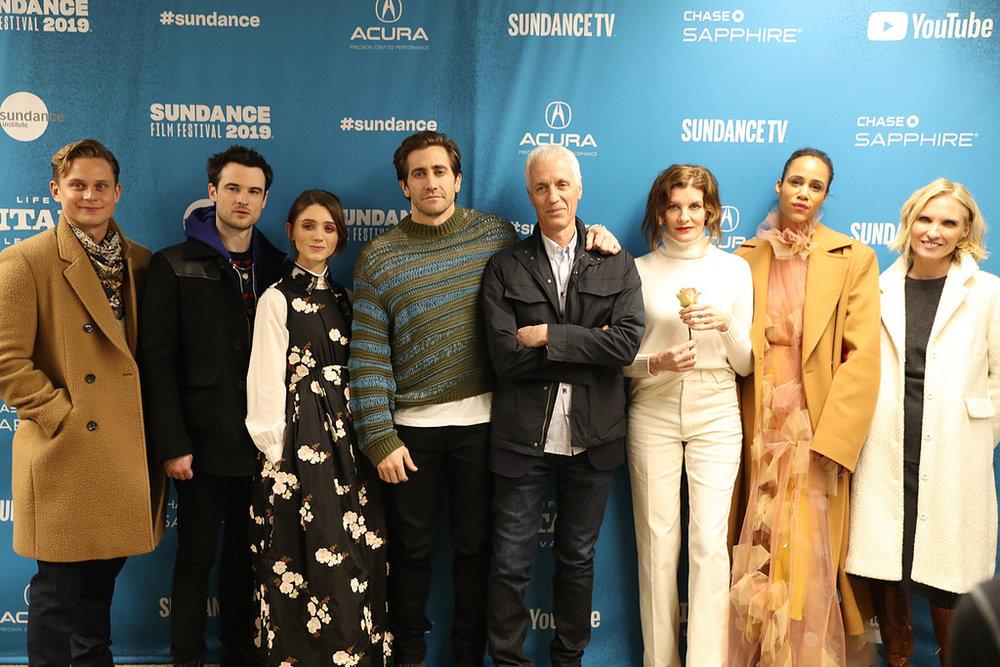 Velvet Buzzsaw  press line feat. Dan Gilroy (centre) with key cast - Courtesy of The Sundance Institute (2019)