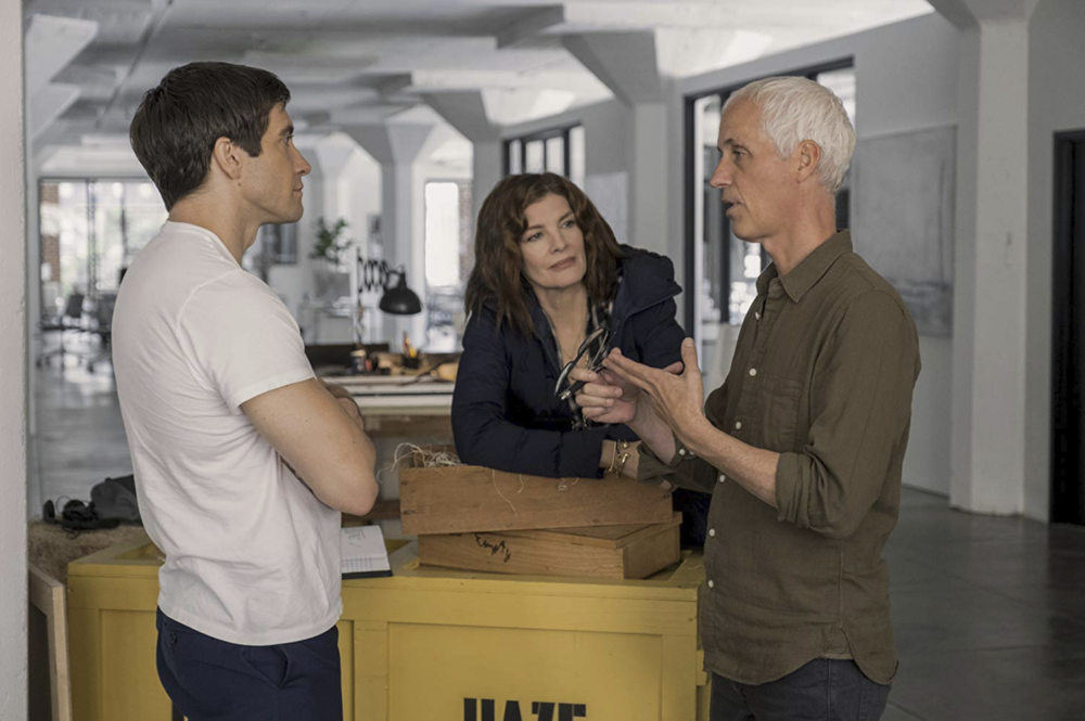 Jake Gyllenhaal and Rene Russo with Dan Gilroy behind the scenes of  Velvet Buzzsaw  (2019) - Courtesy of Claudette Barius/Netflix