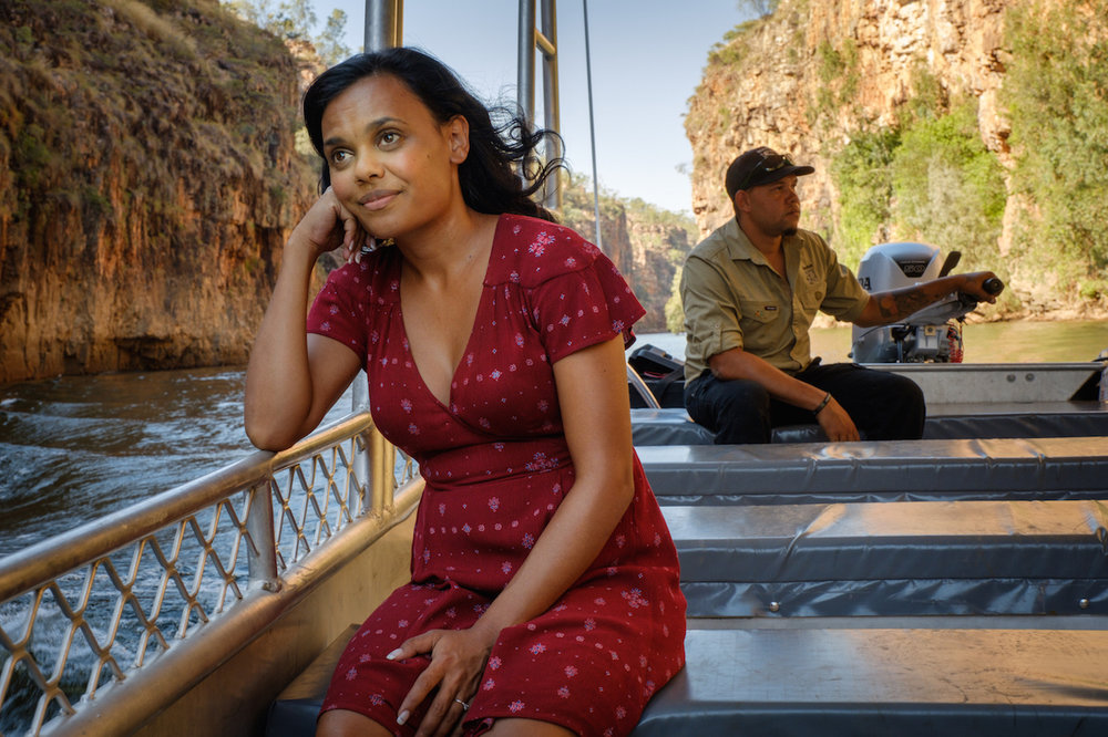 Top End Wedding  (2019) Lauren Ford (Miranda Tapsell) at Nitmuluk (also known as Katherine Gorge) with a local ranger - Courtesy of Goalpost Pictures