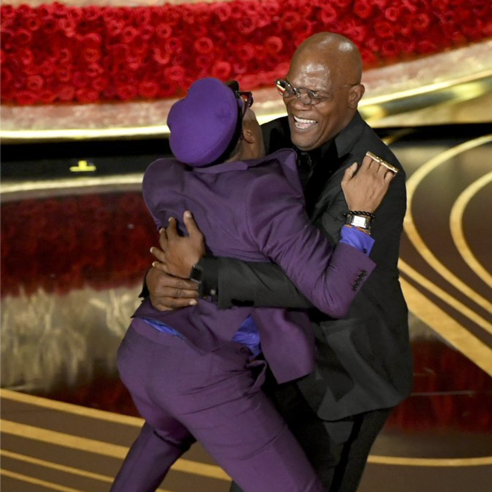 91st Academy Awards (2019) - Spike Lee accepts his first Oscar for Best Adapted Screenplay for  BlacKkKlansman  from his friend Samuel L. Jackson - Courtesy of the ABC