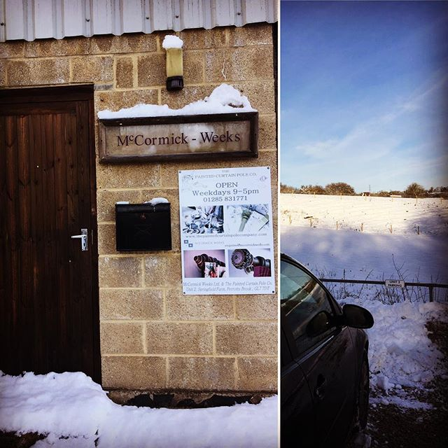 Apologies we couldn't make it here yesterday, we love that our workshop and showroom is in the countryside however we've got rather snowy roads to get here...#cotswoldlife #snow #mccormickweeks #curtainpoles #interiordesign #feelingchristmasy