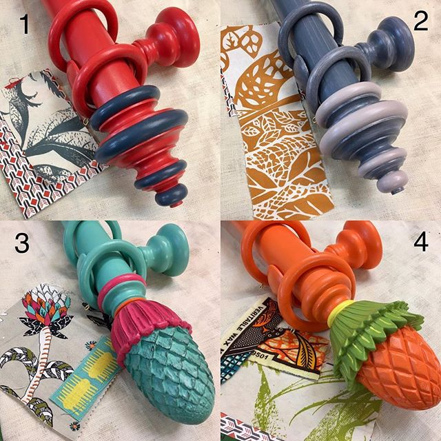 Which is your favourite design 1,2,3 or 4? We love homes with unique designs for each room!!😍🎨🌈 #colourful #curtainpoles #finials #windowdressing #caribbeanstyle #mccormickweeks #interiordesign