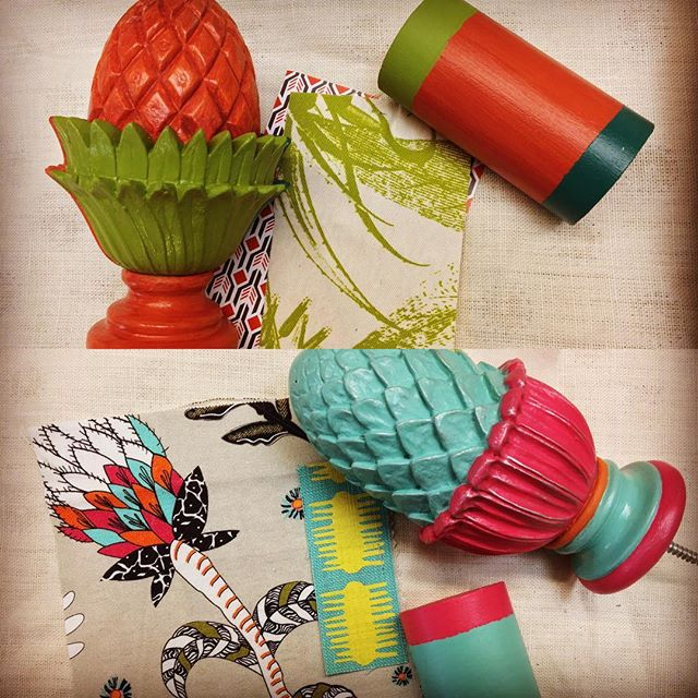We have brought summer inside on this rainy Tuesday...a selection of vibrant colours from @littlegreenepaintcompany and some of our own colour matches for a house in the Caribbean ☀️🌎🏝 #mccormickweeks #curtainpoles #interiordesign  #caribbean #summertime #mustique #africanfabrics