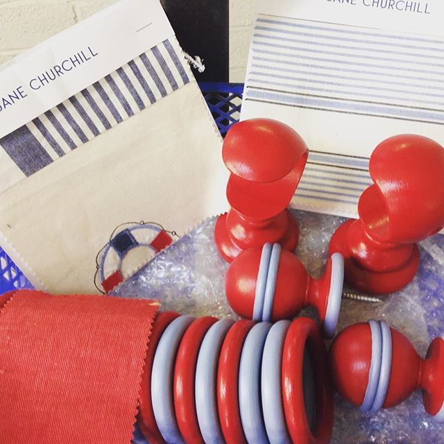 Fun Thursday! A window dressing for a young boys room, colour matched to @janechurchillfabrics #mccormickweeks #curtainpoles #janechurchill #childrensfabric #kidscurtains #finials #beachtheme #sailor #photography #funthursday