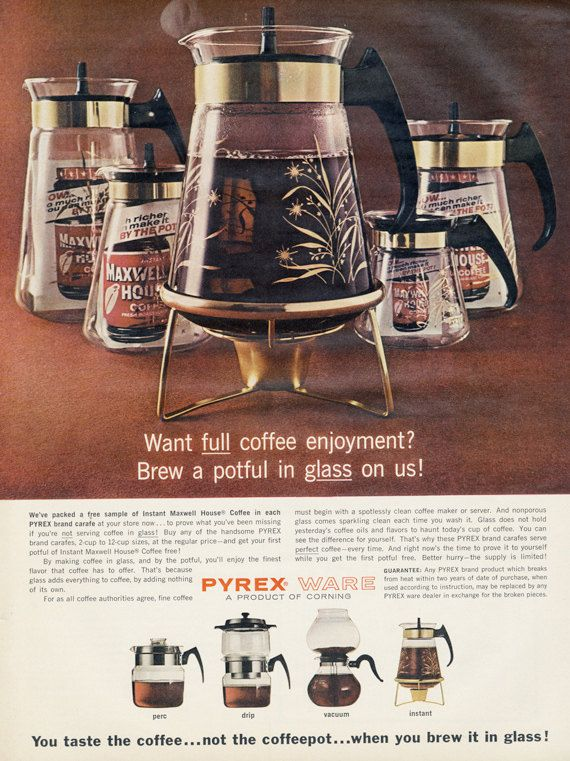 An ad for the Pyrex coffee carafe line of products.