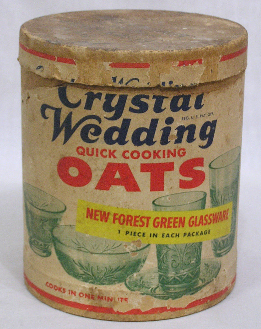 Packaging for oatmeal with free glassware inside from the 1930's.