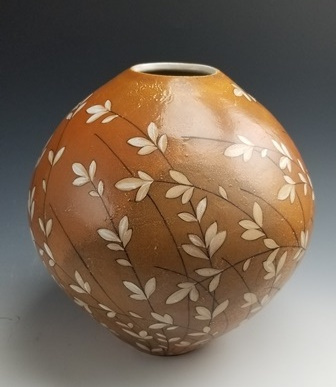 "Kyle Carpenter  Vase with Botanical Painting, 12"" x 12"" x 12""  Retail Value: $375"