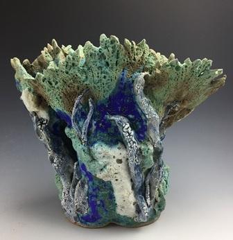 "Ann Prock  Coral Treasure, 10.5"" x 12"" x 7""  Retail value: $300"