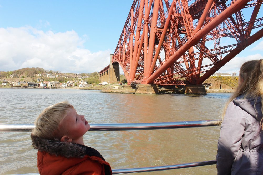 The Forth Rail Bridge. This is one of Oscar's favourite bridges, he thought the trains went up and down like a roller coaster over the bridge!