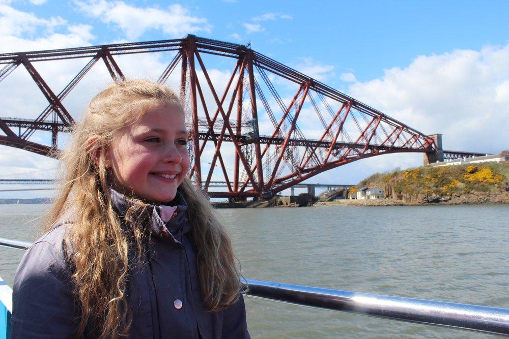 Eilidh with forth bridge behind her.JPG
