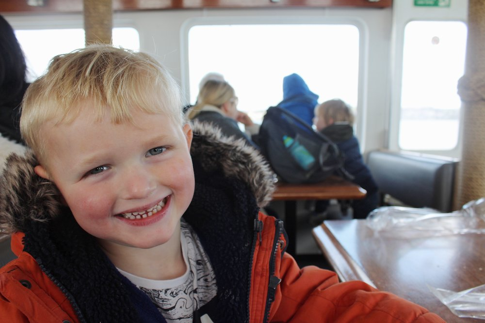 Oscar inside the cabin on maid of the forth.JPG