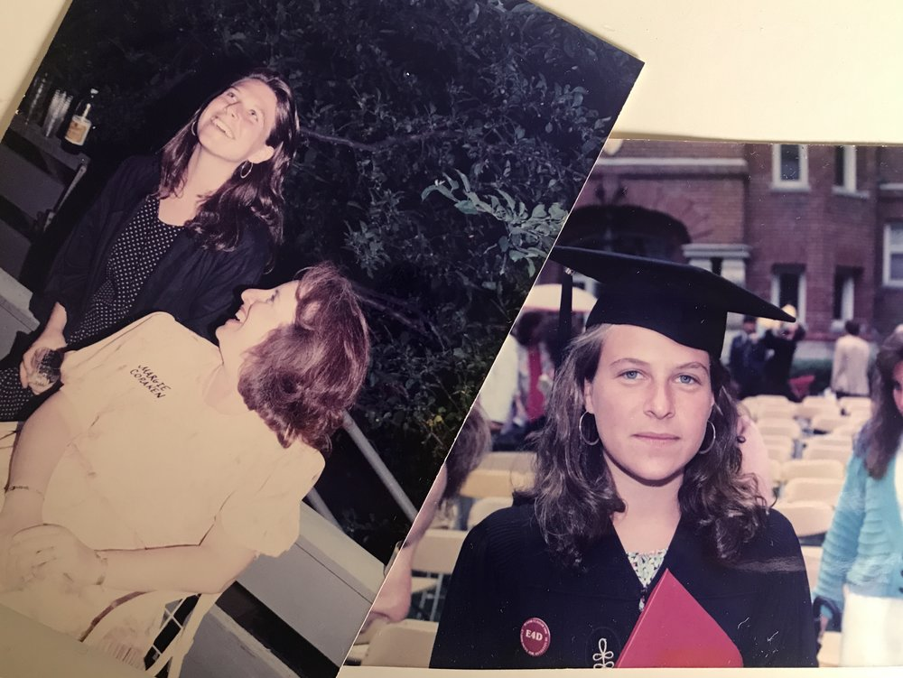 Before/After: On the left is a shot of me with my mother a few hours before the rape, at a pre-graduation party. On the right is a few hours after.