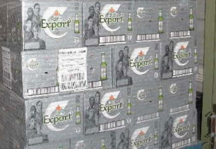 AFTER: A palletised load of Carlsberg Export wrapped in Air-O-Film® Stretch.