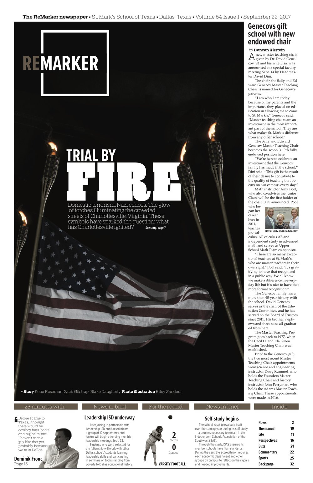 After the haunting events in Charlottesville, Virginia, this cover design attempted to capture the same ominous and foreboding feeling people in our community felt when they saw tiki-torch-bearing white nationalists march around a statue of Robert E. Lee Aug. 11. I also desaturated the colors of the American flag to point the reader to the headline and add to the page's dark mood.