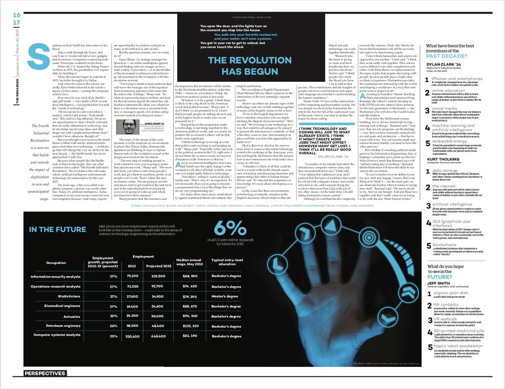 A futuristic story on technology in the fourth industrial revolution merits a page that's equally futuristic in design. The contrast of the blue and black here establishes that futuristic theme and is then carried out through the body copy and supplementary infographics.