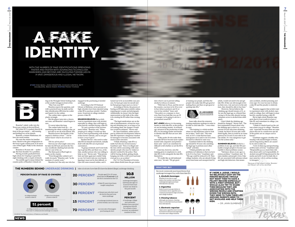 Building off of the glitched-out distortion theme from this issue's fake ID cover, I transposed the the typical Texas ID watermarks and seals onto the page. Beyond this, the infographics at the bottom of the page expand the story's perspective to underage drinking statistics and items the typical fake ID owner buys.
