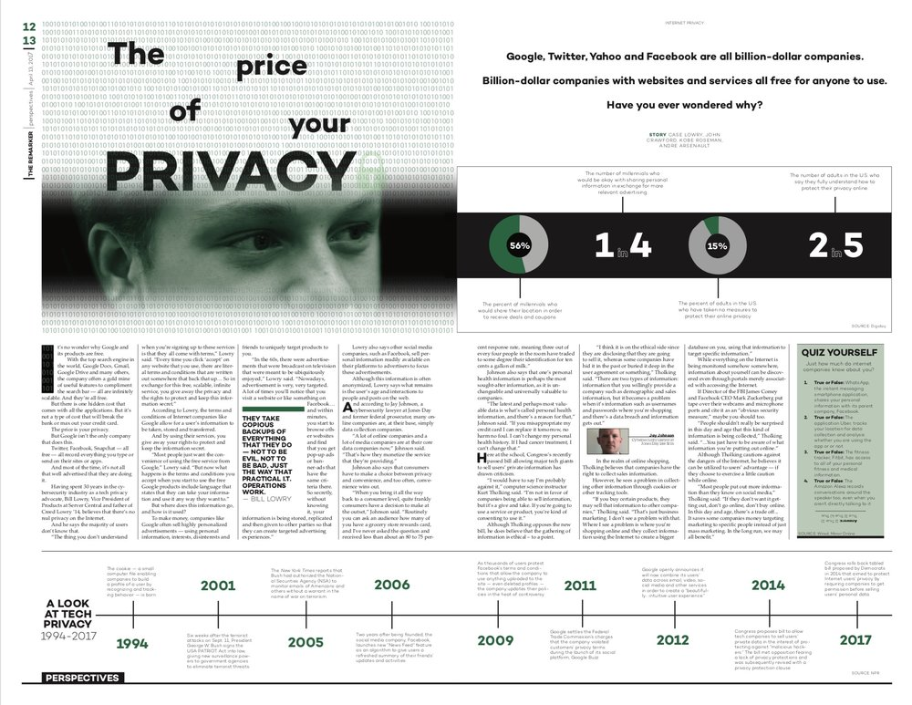 For the complex topic of cybersecurity, I knew we would need to balance both a local and a national perspective. So when it came to designing the package, I kept this in mind. By juxtaposing the dominant visual of a current student's eye with infographic content, I was able to help shape the story in a localized way.