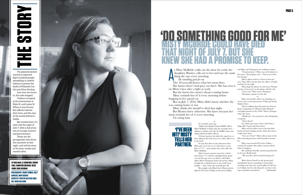 As the centerpiece story of this magazine, officer Misty McBride's page design was intended to ease readers into the start of her powerful story.