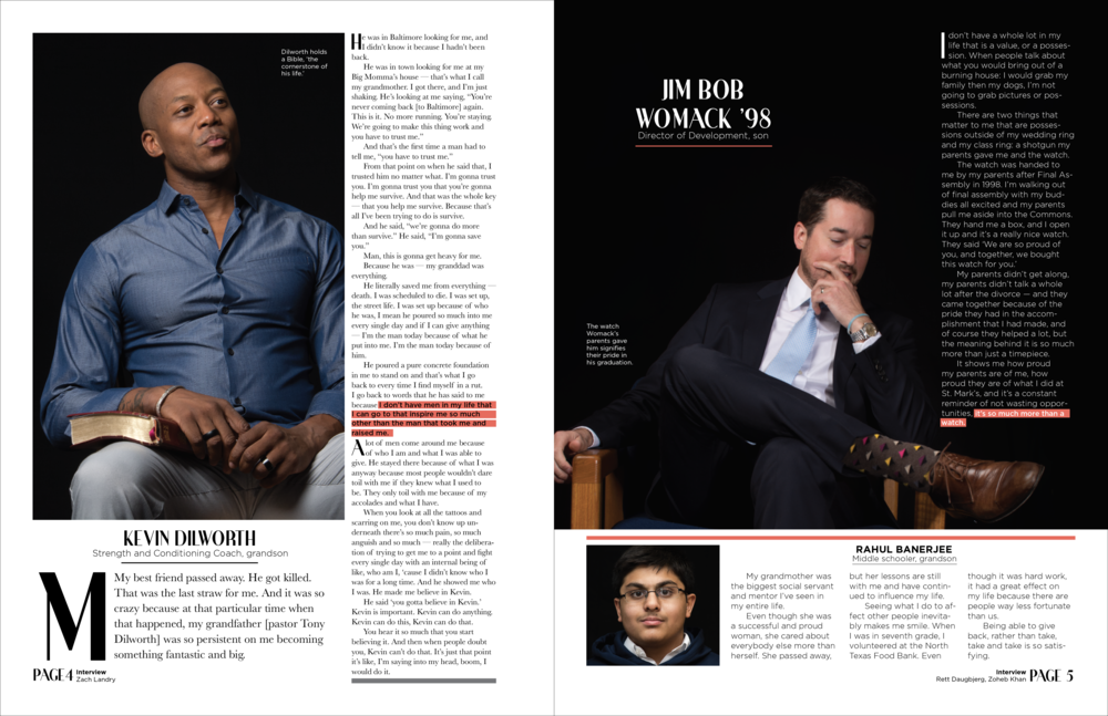 It was important not to over-design the inside pages for this issue of  Focus Magazine.  With so many great quotes and photos, a simple yet consistent design was my focus while designing these pages.