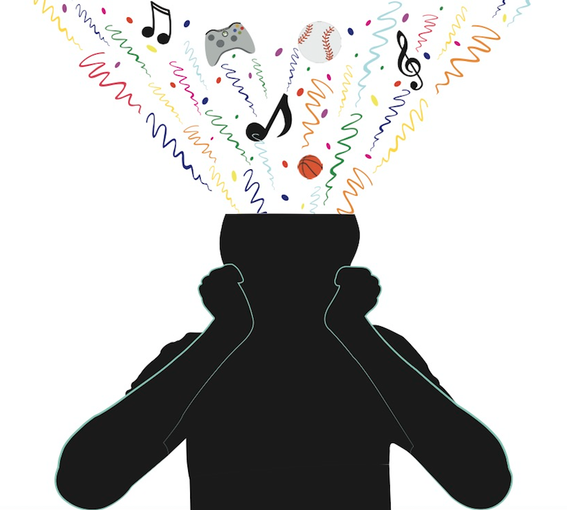 Using Adobe Illustrator, I traced a real person sitting at a desk for this graphic used on our ADHD cover story. Colorful confetti and other symbols of creativity were used to capture the imagination-thinking often associated with ADHD.