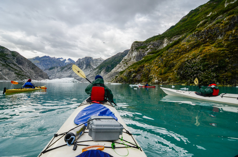Paddling through icebergs, McBride Inlet