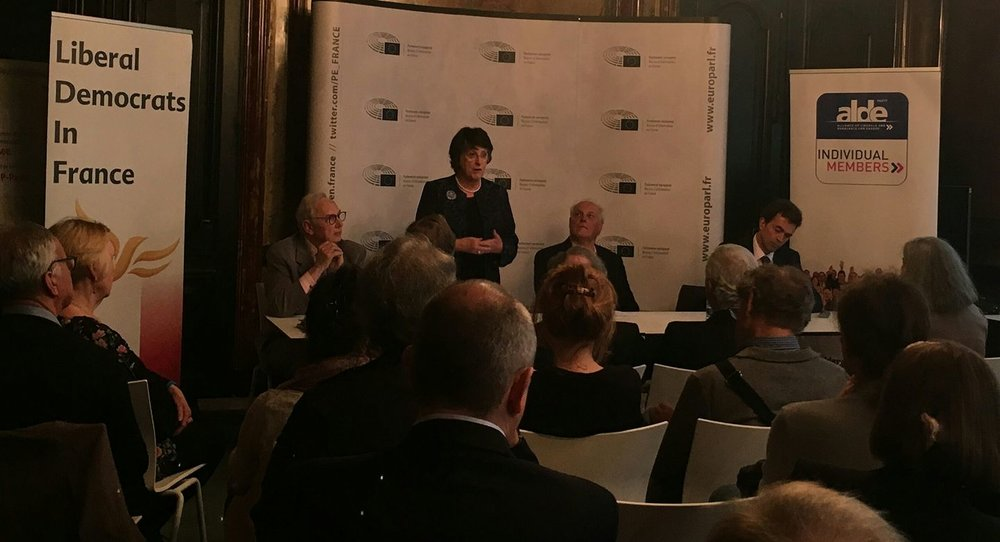"Catherine Bearder updates the Forum on ""Brexit"" To right of her (in photo) is our Chair, Paul Fisher. Far right is Tom Brake MP. To the left is Yves Robert, National Coordinator of the Individual members of ALDE"