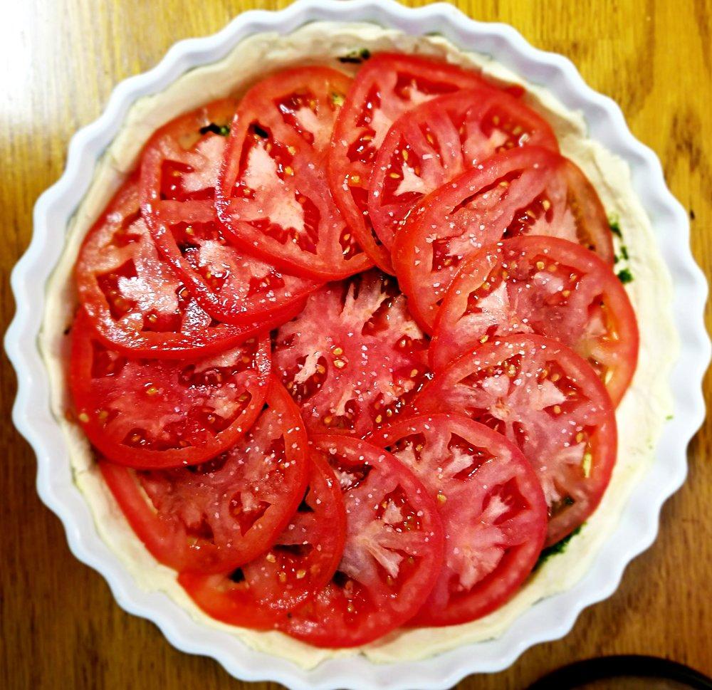 Cilantro-Mint Chutney Tomato Tart